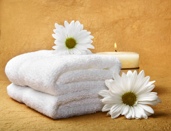 towel and orchid relaxation photo